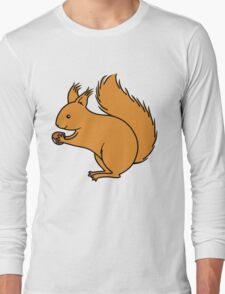 Red Squirrel with Nut Long Sleeve T-Shirt