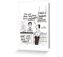 humorous cartoon of a lazy person buying shoes Greeting Card