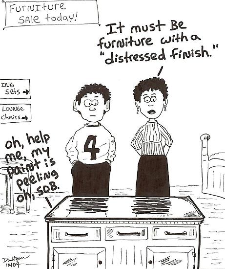 cartoon of distressed furniture by Dan Wagner