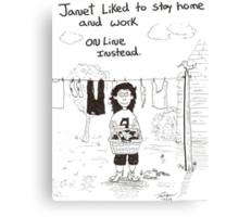 cartoon of online work Canvas Print