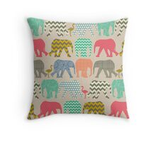 linen baby elephants and flamingos Throw Pillow