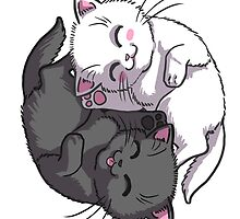 Kitten Kitty Yin Yang black and white sleeping circle by ninniku