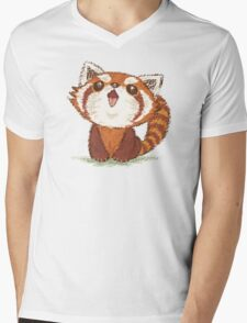 Red panda happy Mens V-Neck T-Shirt