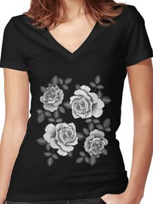 White Realistic Roses Women's Fitted V-Neck T-Shirt
