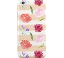 Peach Cream Stripes Watercolor Flowers iPhone Case/Skin