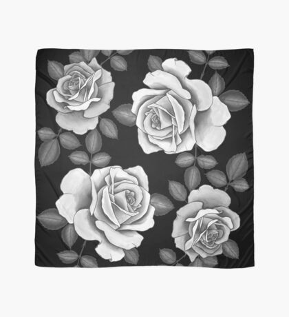 White Realistic Roses Scarf