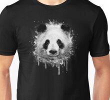 Cool Abstract Graffiti Watercolor Panda Portrait in Black & White  Unisex T-Shirt