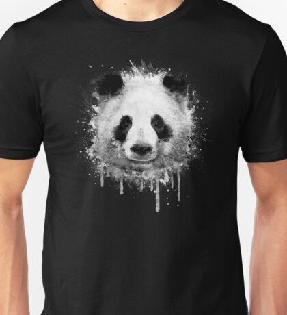 Cool Abstract Graffiti Watercolor Panda Portrait in Black & White  Unisex T-Shirt