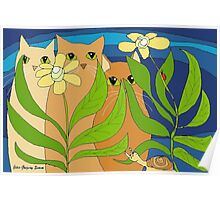 Three Cats, Two Flowers, One Snail and A Ladybug Poster