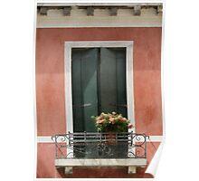 Green Venetian Window on Peach Poster