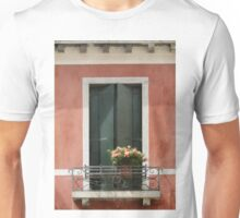 Green Venetian Window on Peach Unisex T-Shirt