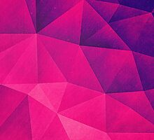 Abstract Polygon Multi Color Cubizm Painting in deep pink/purple  by badbugs