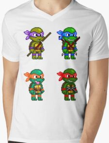 Teenage Mutant Ninja Turtles Pixels Mens V-Neck T-Shirt
