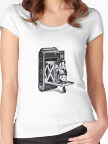 Vintage Camera Line Art Women's Fitted Scoop T-Shirt