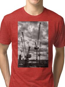 Tower Cranes on City of London Skyline Tri-blend T-Shirt