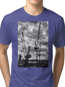 Tower Cranes on City of London Skyline Tri-blend T-Shirt