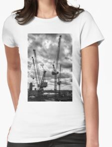 Tower Cranes on City of London Skyline Womens Fitted T-Shirt