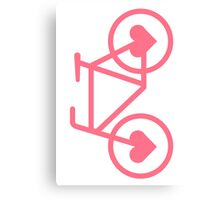 Pink Bicycle Love - Fixie Hearts Canvas Print