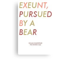 Exeunt Pursued By A Bear - Shakespeare Canvas Print