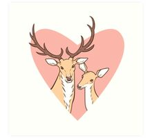Deer Lovers Art Print