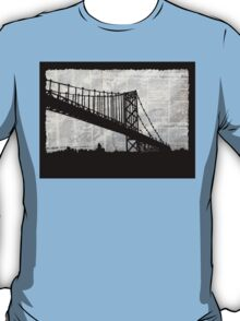 News Feed , Newspaper Bridge Collage, night cityscape cutout, black white city print illustration  T-Shirt
