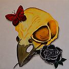 SKULL, BLACK ROSE & BUTTERFLY by jansimpressions