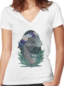 Clever Girl - Blue Women's Fitted V-Neck T-Shirt