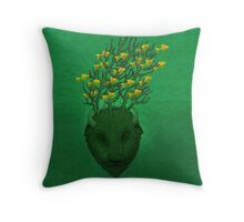 Sea Buffalo Dreaming Green Heart  Throw Pillow