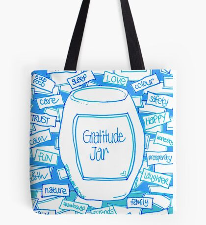 Gratitude Jar (on Blue) Tote Bag