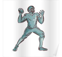 American Football QB Throwing Etching Poster