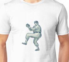 Baseball Pitcher Pitching Etching Unisex T-Shirt