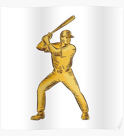 Baseball Batter Batting Bat Etching Poster