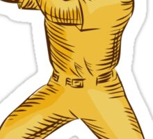 Baseball Batter Batting Bat Etching Sticker