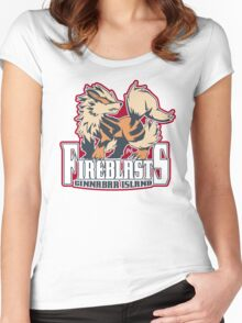 Cinnabar Island Fire Blasts: Arcanine Sport Logo Women's Fitted Scoop T-Shirt