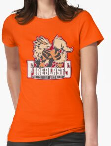 Cinnabar Island Fire Blasts: Arcanine Sport Logo Womens Fitted T-Shirt