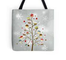 Winter Holiday Cupcake Tree Tote Bag