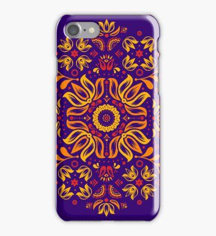 Fiery Floral Folk Pattern iPhone Case/Skin