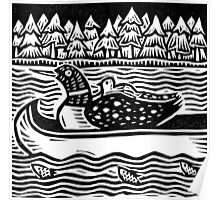 Loon in Canoe Poster
