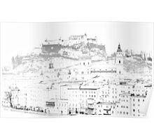Overcast Winter Day in Salzburg Poster