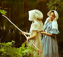 Fishing in Period Clothing at Sturbridge by Rebecca Bryson