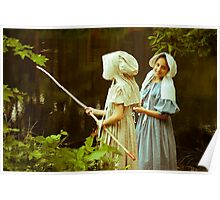 Fishing in Period Clothing at Sturbridge Poster