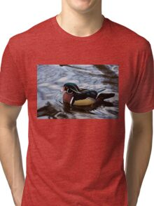 Colorful Forest Jewel - a Wood Duck in a Secluded Lake Tri-blend T-Shirt