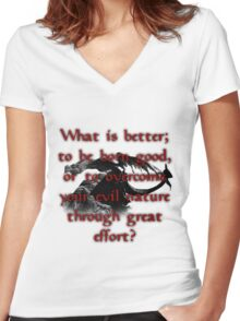 Paarthurnax Wisdom Women's Fitted V-Neck T-Shirt