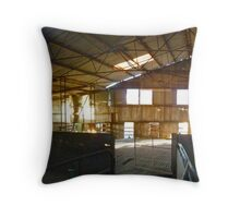 The old shearing Shed Throw Pillow