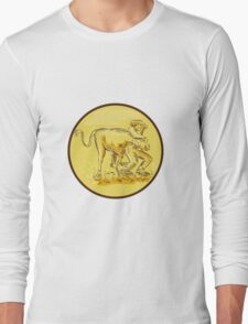 Rodeo Cowboy Steer Wrestling Circle Etching Long Sleeve T-Shirt