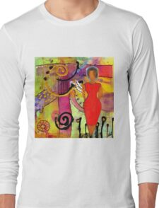Woman in Red Long Sleeve T-Shirt
