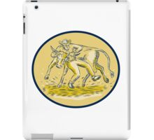 Rodeo Cowboy Steer Wrestling Bull Oval Etching iPad Case/Skin