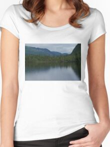 Forecasting Rain - Forest Lake Reflections in Charlevoix, Quebec, Canada Women's Fitted Scoop T-Shirt