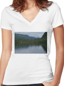 Forecasting Rain - Forest Lake Reflections in Charlevoix, Quebec, Canada Women's Fitted V-Neck T-Shirt