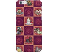 Kitten Tea Party Blocks Alternating with Baroque Medallions iPhone Case/Skin